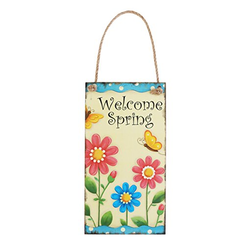 OULII Welcome Spring Easter Wood Hanging Plaque Wall Door Hanger Sign Decoration (Spring Hangers Door)