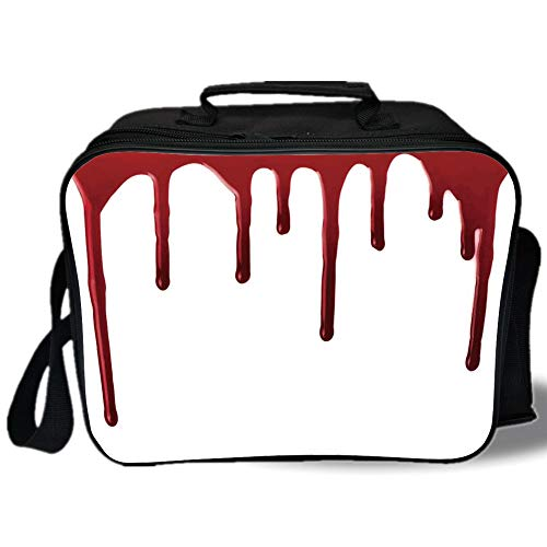 Insulated Lunch Bag,Horror,Flowing Blood Horror Spooky Halloween Zombie Crime Scary Help me Themed Illustration,Red White,for Work/School/Picnic, -