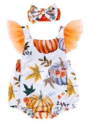 0 3 Month Costumes (Toddler Unisex Romper,Fineser Infant Baby Kids Girls Halloween Costume Pumpkin Leaf Print Romper Bodysuit+Hairband Sets (Multicolor, 0-3)