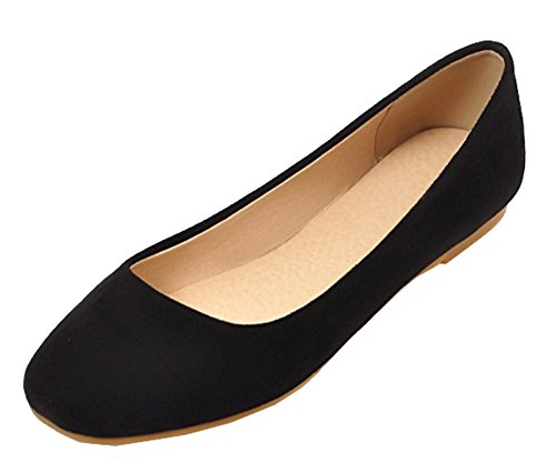 SHOWHOW Womens Cute Round Toe Low Cut Slip On Flats Shoes Black eQDr1HjgoQ