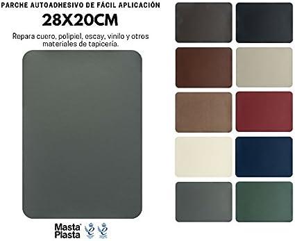 MastaPlasta Reparación Cuero, Polipiel y Skai - Parches Adhesivos Rectangulo XL (200x280mm) (Gris): Amazon.es: Coche y moto