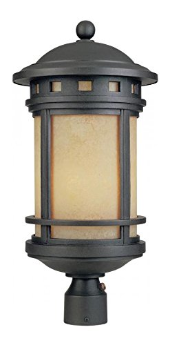 Oil Rubbed Bronze / Amber Sedona 1 Light Outdoor Post Light by Designers Fountain