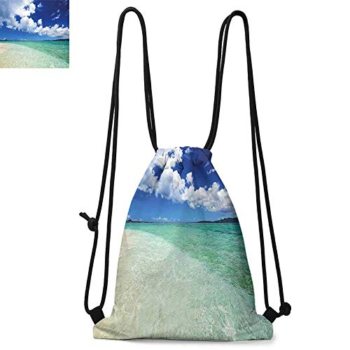Ocean Made of polyester fabric Island Sea Life Wavy Vivid Open Sunny Sea Shore Sand Beach Art Print Image Waterproof drawstring backpack W17.3 x L13.4 Inch Bue Teal Cream White
