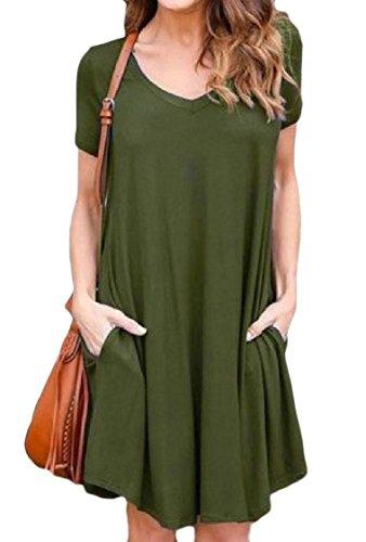 Puro Corta Coolred Raccolta Vestito Verde donne Tasche Midi Colore Militare Manica Collo Il TtU1qwU8