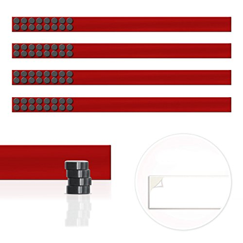 Master of Boards Magnet Strip   Magnetic Display Rail with Adhesive Backing   Memo Board for Photos, Shopping or Kitchen Grocery Lists   4 Pieces - 20