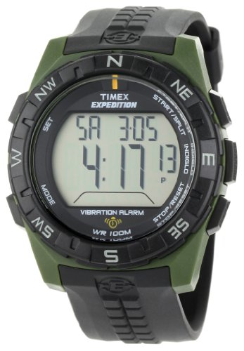 Timex Men's T49852 Expedition Rugged Digital Vibration Alarm Green/Black Resin Strap Watch (Red Line Dual Timer Watch)