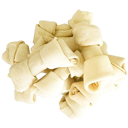 Knotted Dog Chews Bones Rawhide (Pet Magasin Natural Rawhide Bones - Chewing Dog Treats with High Protein & Low Fat for Healthy Dog Teeth & Behavior (10 Counts, 4-5''))