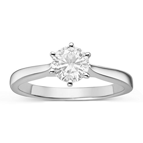 Forever Classic Round 6.0mm Moissanite Engagement Ring, 0.80ct DEW by Charles & Colvard