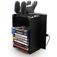 Game Disk Storage Tower with Dual Dock Controller Charging Station for PS4