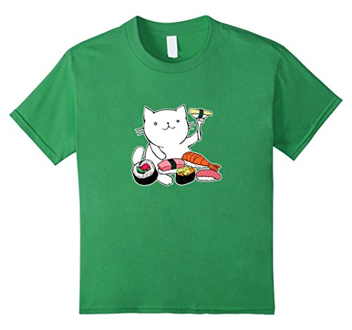 unisex-child Cat Eating Sushi Funny Shirt - Sushi Cat T Shirt 4 Grass