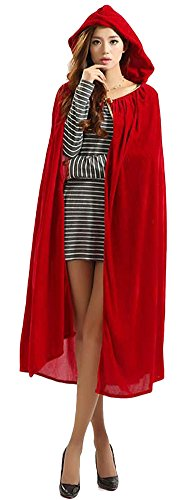 Urban CoCo Women's Costume Full Length Crushed Velvet Hooded Cape (series (Full Length Hooded Cape)
