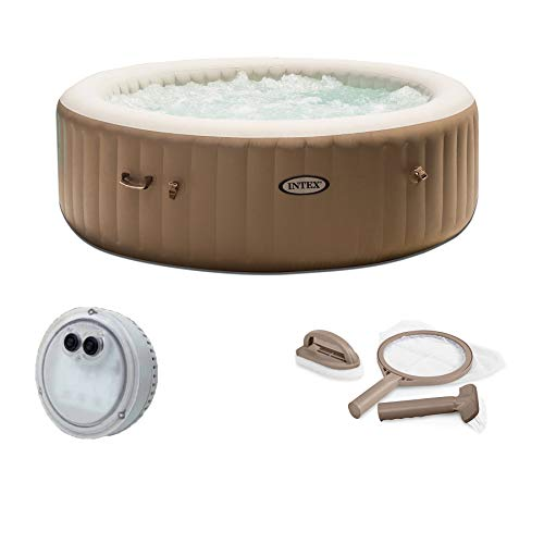 Intex Inflatable PureSpa 6-Person Portable Hot Tub, LED Light, Maintenance Kit (What's The Best Inflatable Hot Tub)