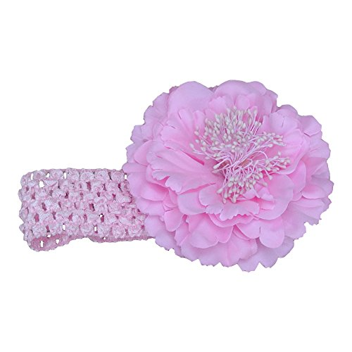 [Infant and Girls Crocheted Headbands with Flower (Light Pink)] (Crop Over Band Costumes)