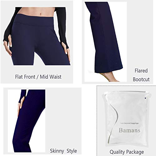 a2b71c019b Bamans Womens Comfort Fit Bootcut Yoga Pants Tummy Control Workout Non  See-Through Wide Leg