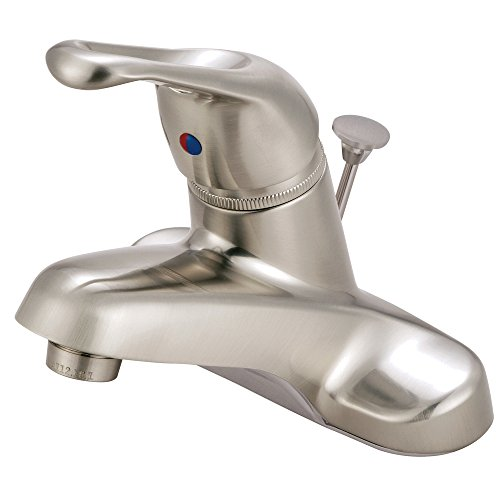 Kingston Brass KB518B+ Wyndham 4-Inch Centerset Single Loop Handle Lavatory Faucet with Brass Pop-Up, Brushed Nickel