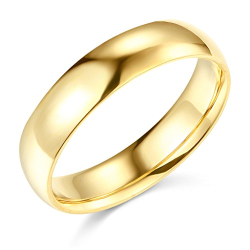 14k Yellow Gold 5mm COMFORT FIT Plain Wedding Band - Size 9.5 by GM Wedding Collection
