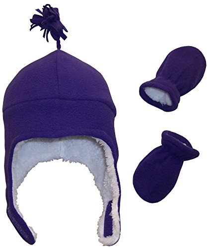 (N'Ice Caps Girls Soft Sherpa Lined Micro Fleece Pilot Hat and Mitten Set (6-18 Months, Infant - Dark)
