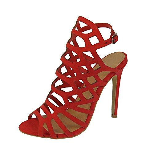 Rojo Suede Ochenta De 9 Sandalias Con Hebillas Mujer 8cm Aguja Tacon Gladiator 66q8wzf