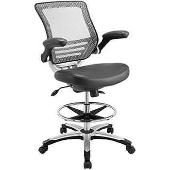 Amazon Com Modway Edge Drafting Chair In Gray Vinyl