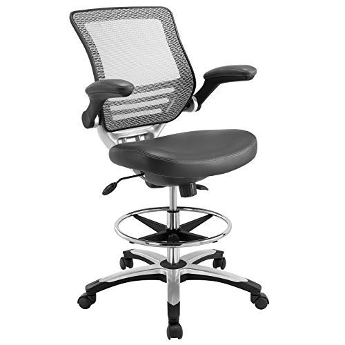 Chair In Gray Vinyl - Reception Desk Chair - Tall Office Chair For Adjustable Standing Desks - Flip-Up Arm Drafting Table Chair ()