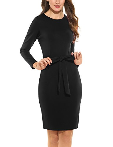 Women to Dress Sleeve Long Office Belt with Work Wear Retro Business Black Pencil ANGVNS dpqXw66