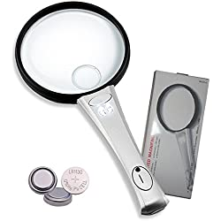 AIDOUT Handheld Magnifier Reading Magnifying Glass - 2X Magnifier & 4X Zoom Lens with 2 LED Lights for Identification, Inspection, Exploring and More - Lightweight Durable ABS Frame