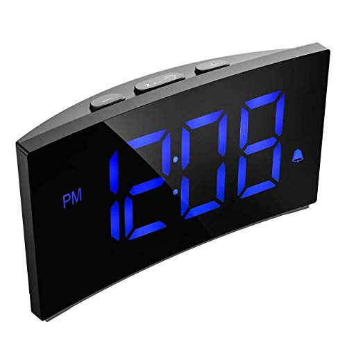 Digital Alarm Clock Pictek 5 Inch Dimmable LED Screen, Kids Desk Clock with Snooze Function for Bedroom Living Room Office (Without Adapter) (Y Blue)