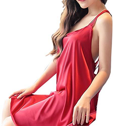 Biancheria Da Sexy Abito Dimensioni Nightdress Erotica In Allentato Di Pigiama Grandi Passeggio Ladies colore Intima Raso Pink Collo Appeso Nero r16xg0r