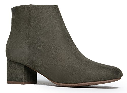 J. Adams Low Heel Ankle Boot - Casual Zip up Bootie - Comfortable Everyday Round Toe Bootie - Jody by Light Khaki Suede