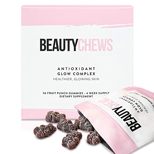 41kShLzp5EL - Beauty Chews Antioxidant Supplement Gummies for Anti-Aging | Astaxanthin and Vitamin E | Boosts Skin Collagen, Repairs Skin Damage and Dark Spots for a Healthy Glow | 4 On-The-Go Weekly Gummy Pouches