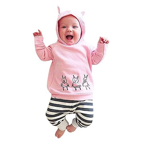 Floral Pig (Toddler Infant Baby Girls Boys Cute Clothes Set Hooded Sweatshirt Cartoon Pig Tops + Striped Pants 2pcs Outfits (Pink, 6-12 Months))
