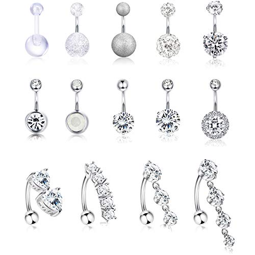 (Jstyle 14Pcs Stainless Steel Belly Button Rings for Women Girls Reverse Navel Rings Curved Barbell CZ Body Piercing Jewelry 14G)