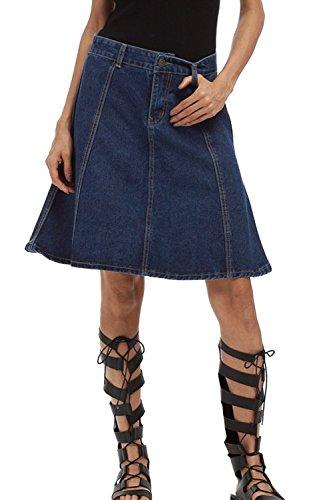 Vemubapis La Taille des Femmes Un Style Rtro Longueur Genou Ligne Jupe en Jean Blue