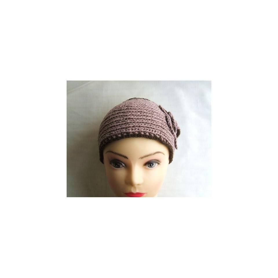Pale Pink Brown Edge Flower Crochet Headband