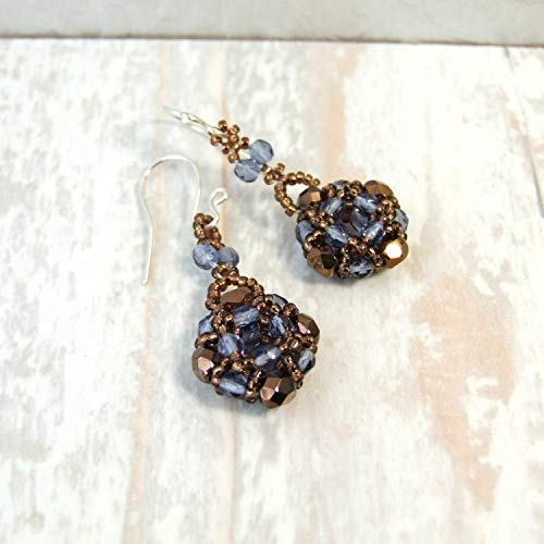 Brown and Blue Czech Glass Beaded Dangle Drop Small Earrings - Handmade Sterling Silver Boho Vintage Style Unique Original Jewelry for Women Gifts