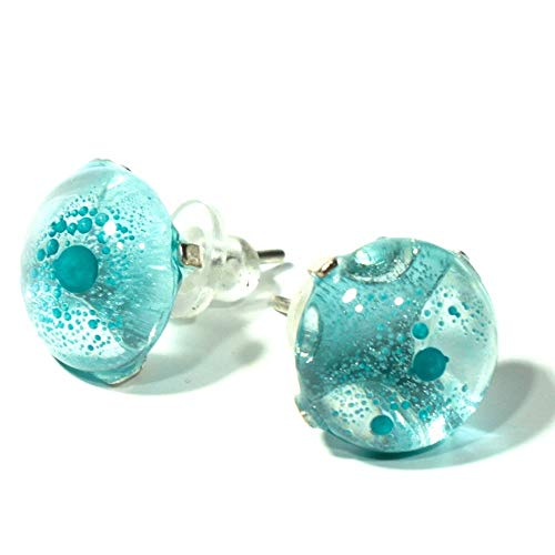 (Earrings for women sterling silver and glossy glass jewelry from a recycled Bombay gin bottle)