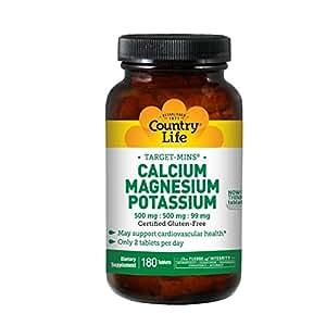 Country Life Target Mins Calcium Magnesium Potassium 500mg/500mg/99mg 180-Tablet