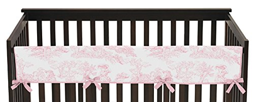 Sweet Jojo Designs Pink French Toile Long Front Rail Guard Baby Girl Teething Cover Protector Crib Wrap