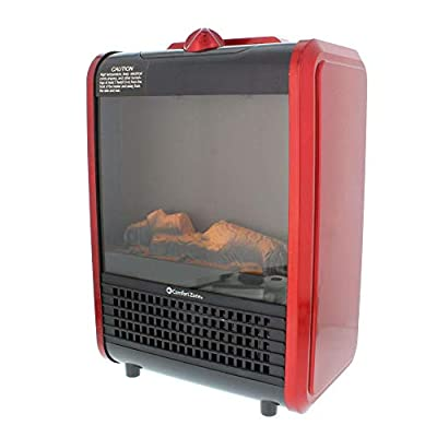 Comfort Zone CZFP1 Mini Ceramic Tabletop Fireplace Heater for Indoor Use, Red