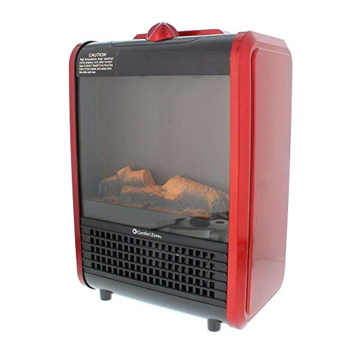 Comfort Zone Mini Ceramic, Electric Fireplace Stove | Red, 3D Fan-Forced Heater with 2 Heat Settings
