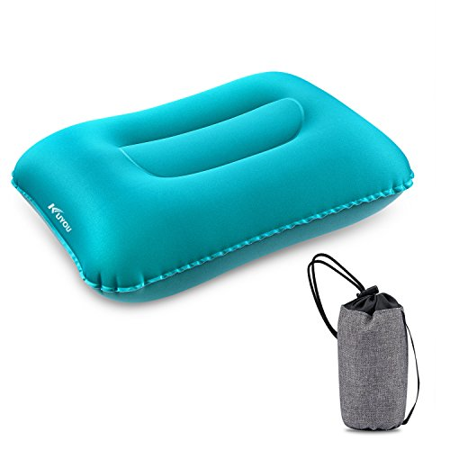 KUYOU Inflatable Camping Pillow, Compressible Ultralight Ergonomic Portable Air Pillow Neck Lumbar Support, Compact Sleeping Pillow Hiking, Travel, Trips, Beach Use (Blue)