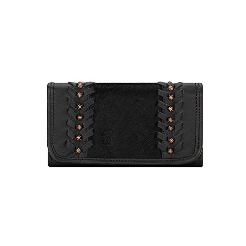 American West Women's Cow Town Tri-Fold Wallet Black One Size