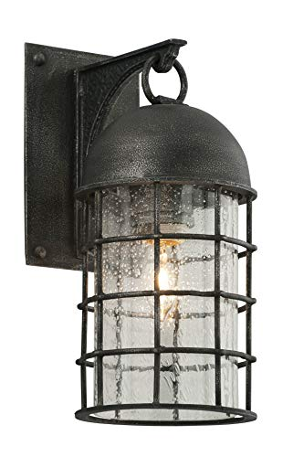 Troy Lighting Charlemagne 1-Light Outdoor Wall Light - Aged Pewter Finish with Clear Seedy Glass Shade Aged Pewter One Light