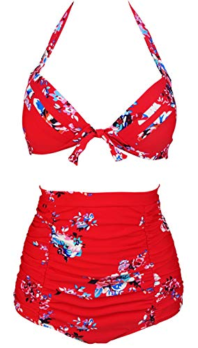 COCOSHIP Red & White & Jade Pink Garden Floral Tie Front Top Halter High Waist Bikini Set Ruched Bathing Cruise Swimsuit M ()