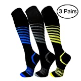 Copper Compression Socks For Men & Women(3 Pairs)- Best For Running,Athletic,Medical,Pregnancy and Travel -15-20mmHg (L/XL, Multicoloured 12)