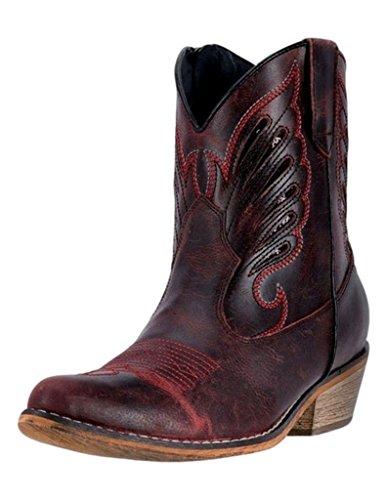 Dingo Women's Flat Bush Short Western Boot Round Toe Red 6.5 M