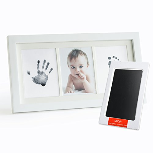 Up & Raise Premium No-Mess Ink Baby Footprint & Handprint Picture Frame Kit – Clean & Elegant | Elegant Glass/Solid Wood | Perfect New Baby Girl/Boy Shower Gift