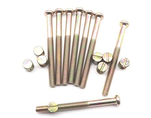 - M8 x 90mm Bed Bolt Crib Screws, binifiMux 8 Set Zinc Plated Hex Drive Socket Cap Furniture Barrel Screws Bolt Nuts
