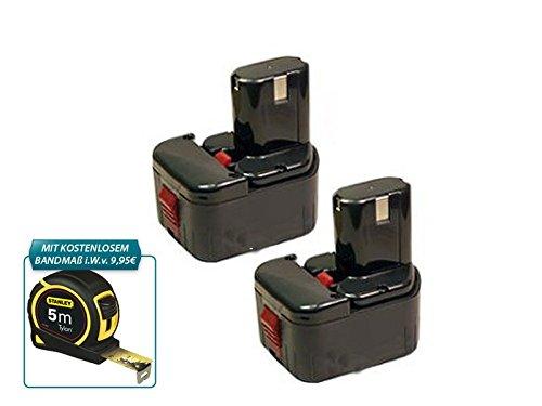 Werkzeugakku Doppelpack mit Kostenlosem Stanley Bandmass NiMH - 12 V - NiMH - 3000 mAh ersetzt Hitachi EB1220HL