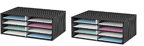 Bankers Box Decorative Eight Compartment Literature Sorter, Letter, Black/Gray - Set of 2 Pinstripe